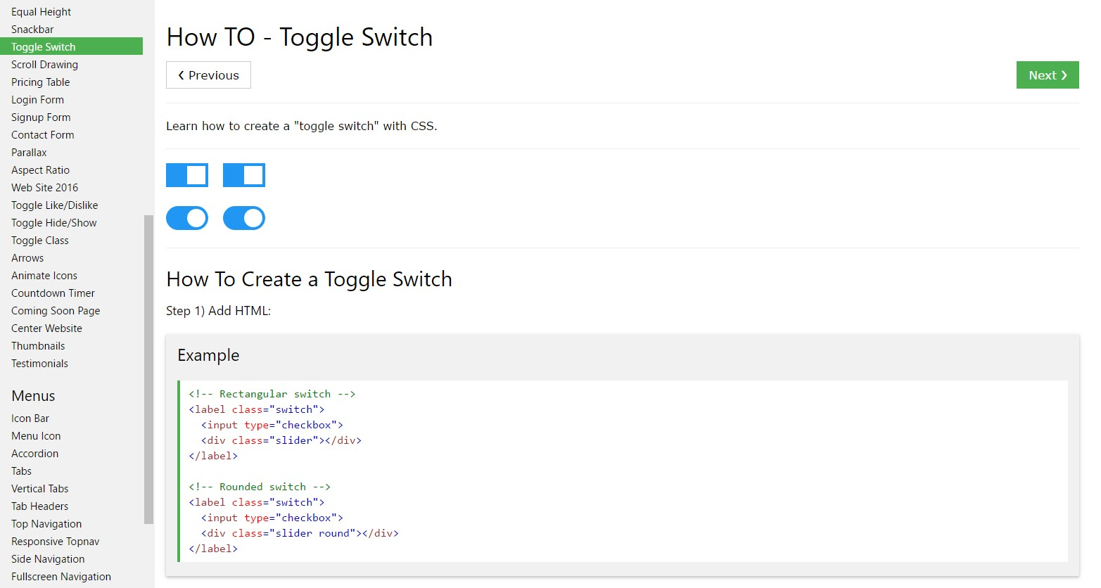 How to  generate Toggle Switch