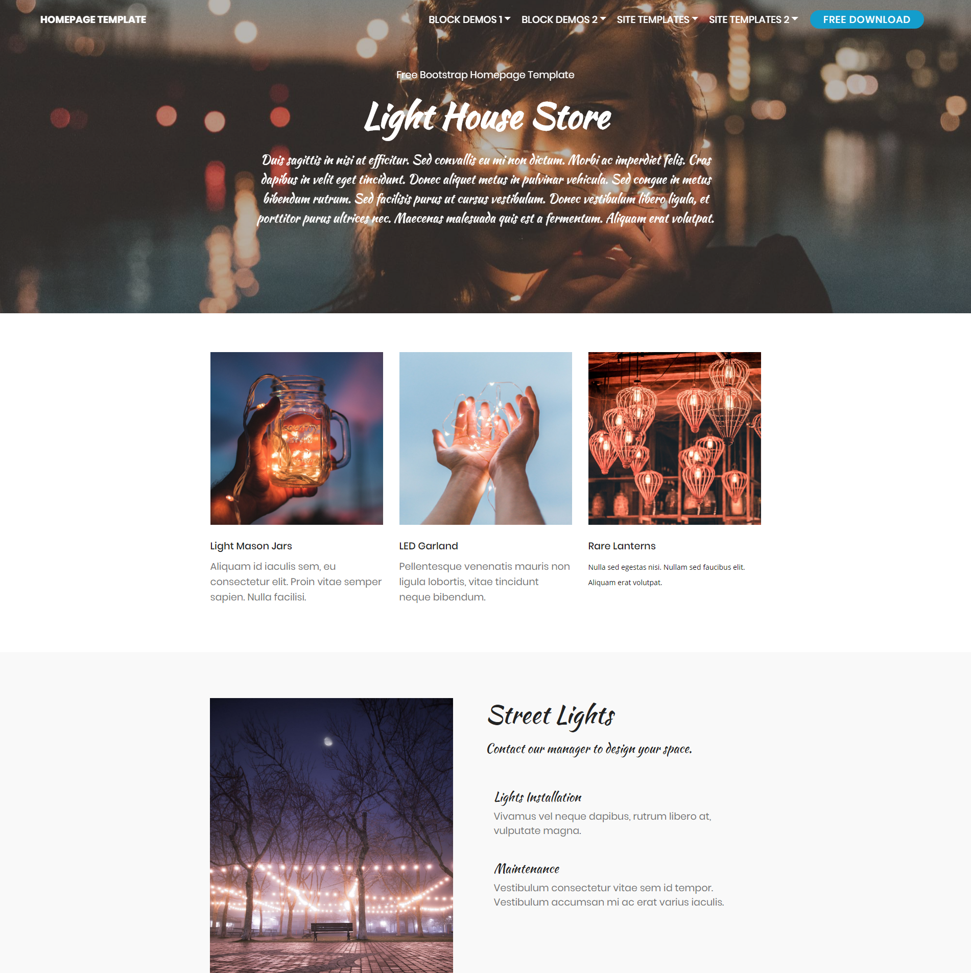 Free Download Bootstrap Homepage Templates