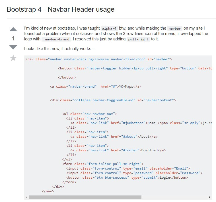 Bootstrap 4 - Navbar Header  handling