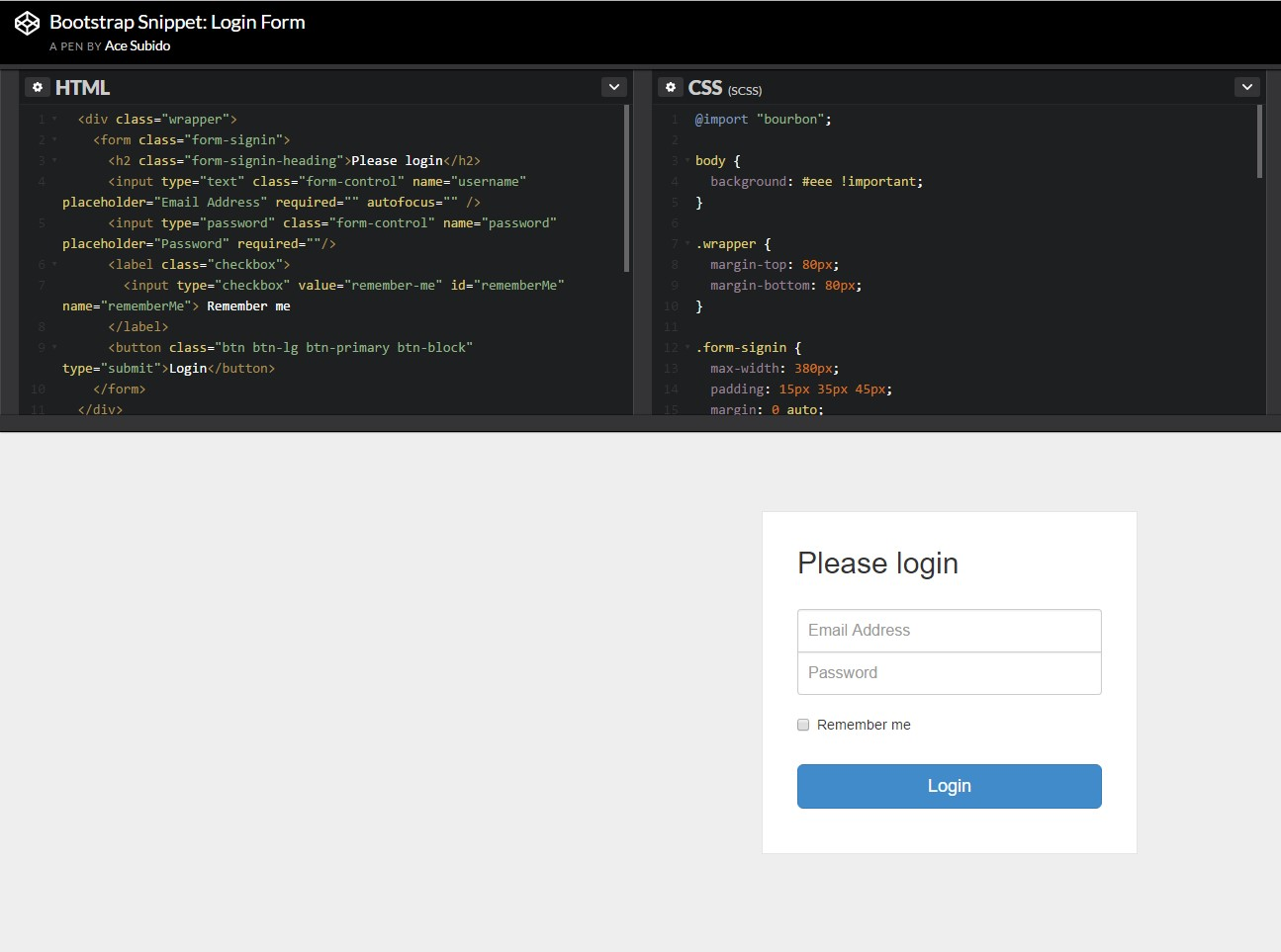 Another  representation of Bootstrap Login Form