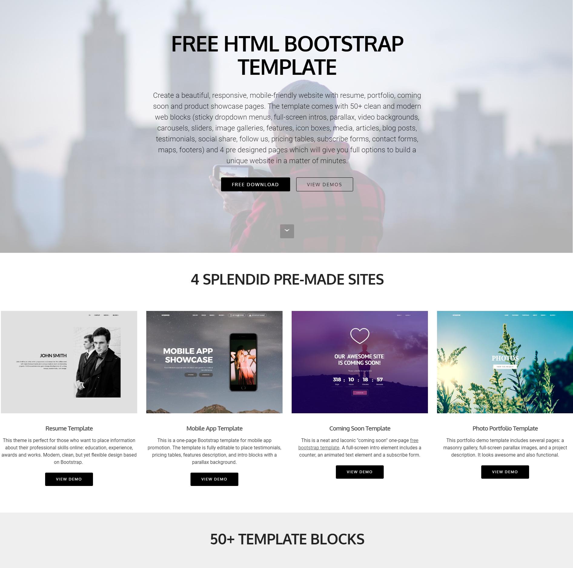 Responsive Bootstrap 4 Blocks Templates